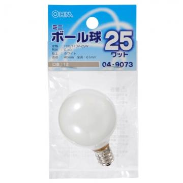 ミニボール球 G-40 E12/25W ホワイト [品番]04-9073