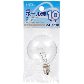 ミニボール球 G-50 E12/110V/10W クリア [品番]04-9076