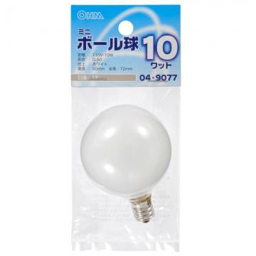 ミニボール球 G-50 E12/110V/10W ホワイト [品番]04-9077