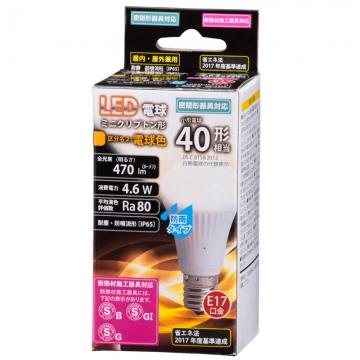 LED電球 ミニクリプトン形 E17 40形相当 防雨タイプ 電球色 [品番]06-3265