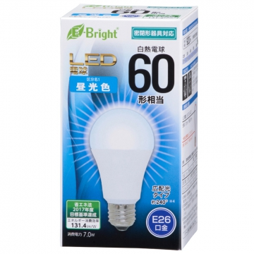 LED電球 60形相当 E26 昼光色 広配光 密閉器具対応 [品番]06-3367