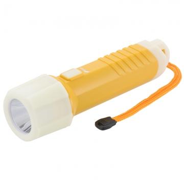 LEDライト 防水 蓄光ラバー付き イエロー [品番]07-8659