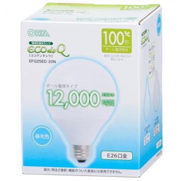 電球形蛍光灯 ボール形 E26 100形相当 昼光色 エコデンキュウ [品番]06-0266