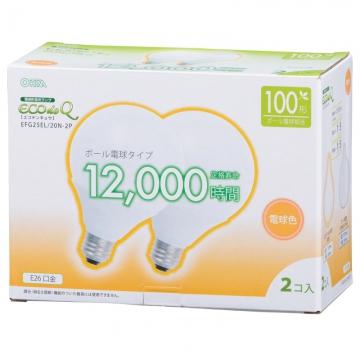 電球形蛍光灯 ボール形 E26 100形相当 電球色 エコデンキュウ 2個入 [品番]06-0267