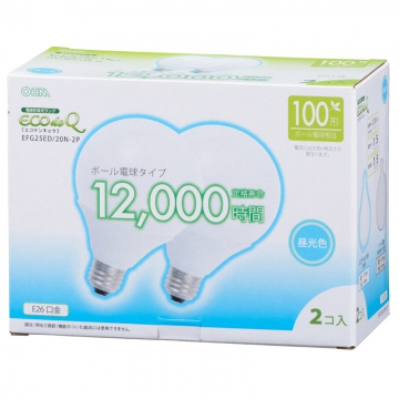 電球形蛍光灯 ボール形 E26 100形相当 昼光色 エコデンキュウ 2個入 [品番]06-0268