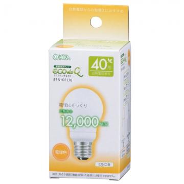電球形蛍光灯 E26 40W相当 電球色 エコデンキュウ [品番]06-0269