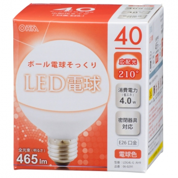 LED電球 ボール形 40形相当 E26 電球色 [品番]06-0291