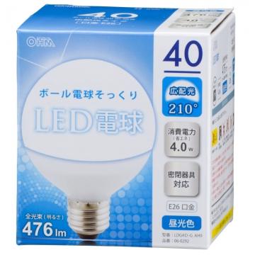 LED電球 ボール形 40形相当 E26 昼光色 [品番]06-0292