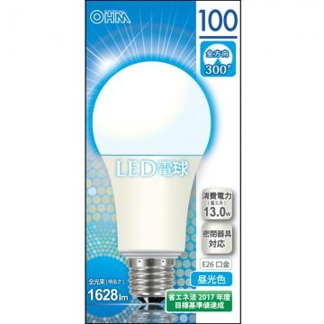 LED電球 100形相当 E26 昼光色 全方向 密閉器具対応 [品番]06-0159