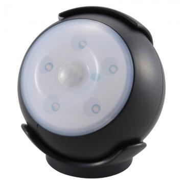 LEDセンサーライト 人感・明暗 ブラック 黄色LED [品番]06-1622