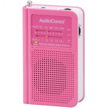 AudioComm AM/FM ポケットラジオ ピンク [品番]07-8603
