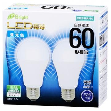 LED電球 60形相当 E26 昼光色 広配光 密閉器具対応 2個入 [品番]06-3174