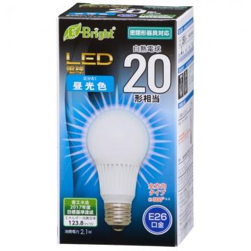 LED電球 20形相当 E26 昼光色 全方向 密閉器具対応 [品番]06-3369