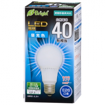 LED電球 E26 40形相当 昼光色 [品番]06-3371
