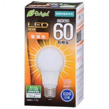 LED電球 60W相当 E26 電球色 全方向 密閉器具対応 [品番]06-3372