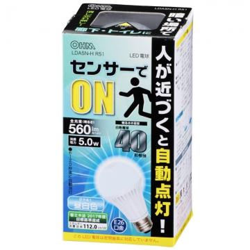 LED電球 E26 40形相当 人感センサー 昼白色 [品番]06-0606