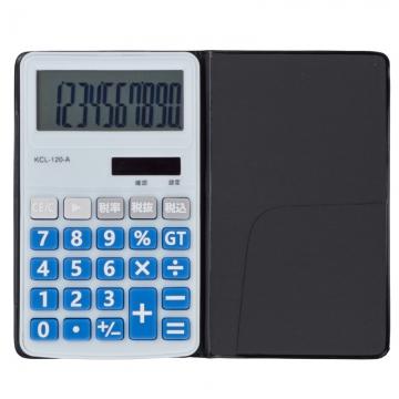 電卓 ソーラー 10桁 手帳サイズ 青 [品番]07-9954