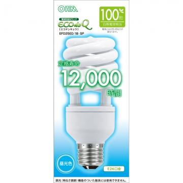 電球形蛍光灯 スパイラル形 E26 100形相当 昼光色 エコデンキュウ [品番]06-0278