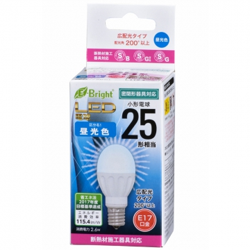 LED電球 小形 E17 25形相当 昼光色 [品番]06-3351