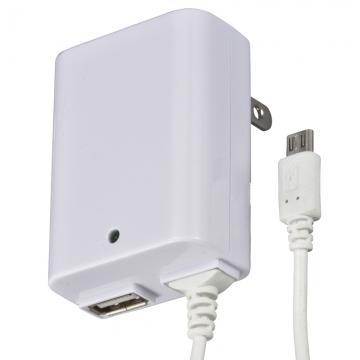 ACアダプター USB+マイクロUSB2.1A[品番]01-3430