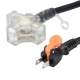 らく抜き&通電ランプ付 作業用延長コード 3個口 10m 黒 [品番]00-4360