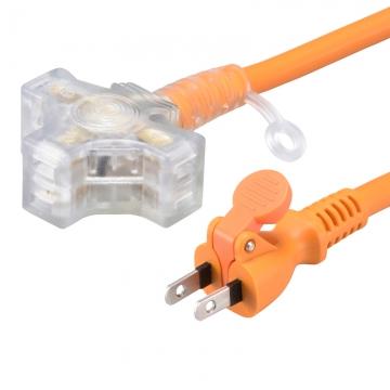 らく抜き&通電ランプ付 作業用延長コード 3個口 10m オレンジ [品番]00-4363