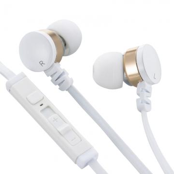 AudioComm スマートフォン専用イヤホン マイク・リモコン付 ゴールド [品番]03-0385