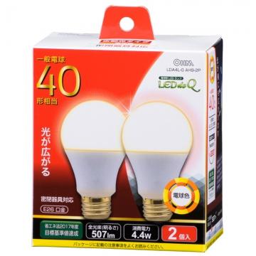 LED電球 40形相当 E26 電球色 広配光 密閉器具対応 2個入 [品番]06-0773