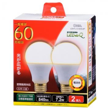LED電球 60形相当 E26 電球色 広配光 密閉器具対応 2個入 [品番]06-0775