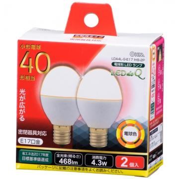 LED電球 小形 40W相当 E17 電球色 2個入 [品番]06-0779