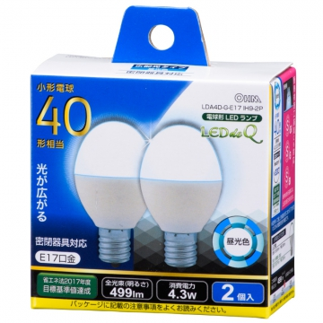 LED電球 小形 E17 40形相当 昼光色 2個入 [品番]06-0780