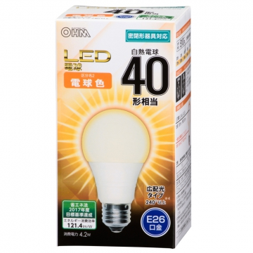 LED電球 40形相当 E26 電球色 広配光 密閉器具対応 [品番]06-3175
