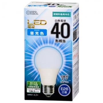 LED電球 40形相当 E26 昼光色 広配光 密閉器具対応 [品番]06-3176