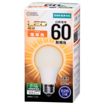 LED電球 一般電球形 60形相当 E26 電球色 [品番]06-3177