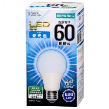LED電球 60形相当 E26 昼光色 広配光 密閉器具対応 [品番]06-3178
