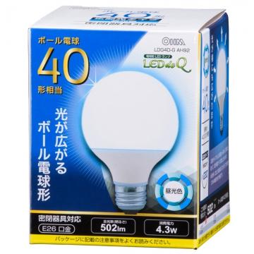 LED電球 ボール形 40W相当 昼光色 [品番]06-0756