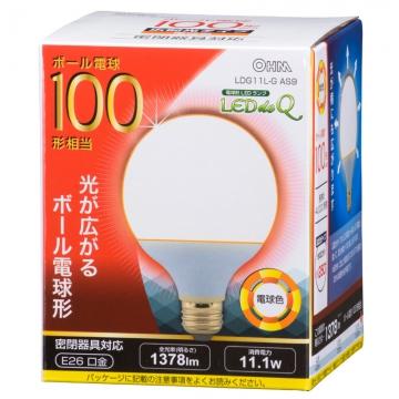 LED電球 ボール形 100W相当 電球色 [品番]06-0759