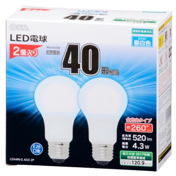 LED電球 40W形相当 E26 昼白色 全方向 密閉器具対応 2個入 [品番]06-1744