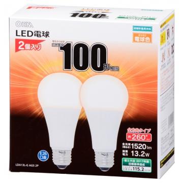 LED電球 100W相当 E26 電球色 全方向 密閉器具対応 2個入 [品番]06-1747