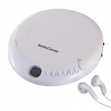 AudioComm ポータブルCDプレーヤー ホワイト [品番]07-8882