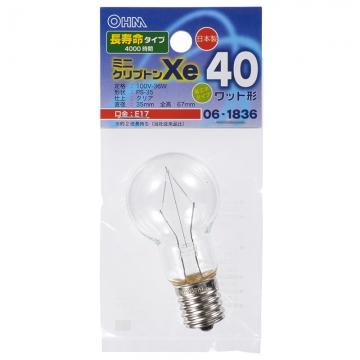 ミニクリプトン球 40形相当 PS-35 E17 クリア 長寿命タイプ [品番]06-1836
