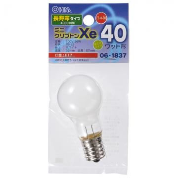 ミニクリプトン球 40形相当 PS-35 E17 ホワイト 長寿命タイプ [品番]06-1837