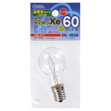 ミニクリプトン球 60形相当 PS-35 E17 クリア 長寿命タイプ [品番]06-1838
