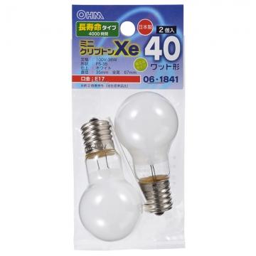ミニクリプトン球 40形相当 PS-35 E17 ホワイト 長寿命タイプ 2個入 [品番]06-1841