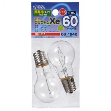 ミニクリプトン球 60形相当 PS-35 E17 クリア 長寿命タイプ 2個入 [品番]06-1842