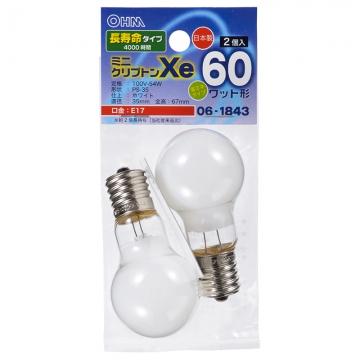 ミニクリプトン球 60形相当 PS-35 E17 ホワイト 長寿命タイプ 2個入 [品番]06-1843