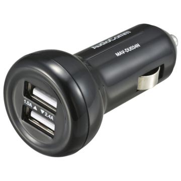 AudioComm USBカーチャージャー 2.4A+1.0A [品番]03-3055