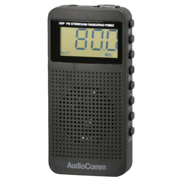 AudioComm DSP式 FMステレオラジオ ブラック [品番]07-9816