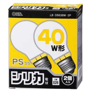 白熱電球 E26 40W ホワイト 2個入 [品番]06-0646