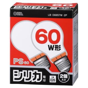 白熱電球 E26 60W ホワイト 2個入 [品番]06-0648